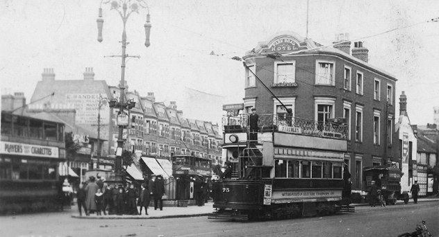 Trams at Tally Ho Corner in the early 1920s